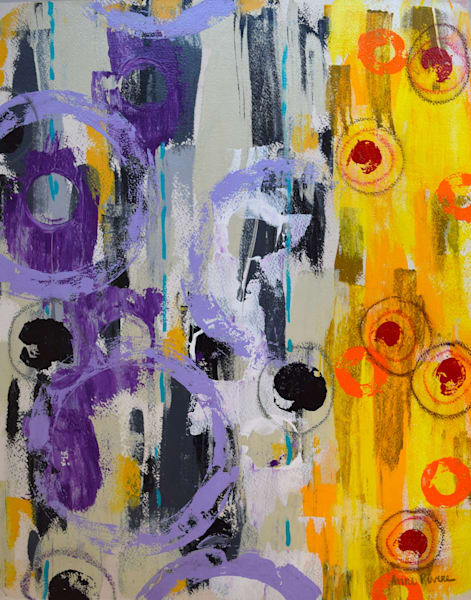Fun Times, acrylic on paper mounted on board, original abstract art, paintings for sale/Peachtree City, GA