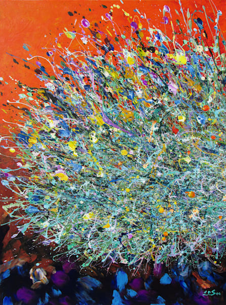 Hot Orange Color l Desert Wildflowers #23  l Buy Original Art