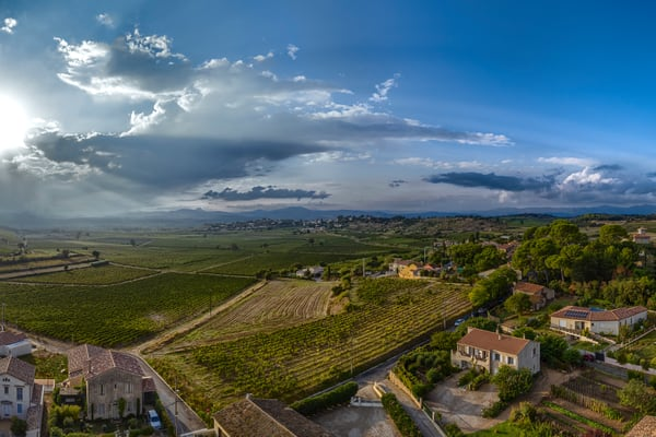 Overlooking the #vineyards just outside of #Puilacher #France in the #Languedoc region, the sun prepares to be amazing as it sets over #Pezenas to the west.