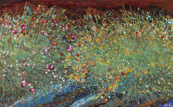 Abstract Desert Wildflowers Art #12 - Original Art for Sale