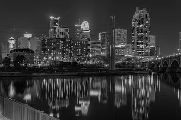 Black and White Minneapolis Skyline - Minneapolis Wall Art | William Drew