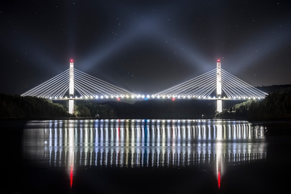 Bucksport Maine Bridge at Night, bridge lights reflecting in river and sky