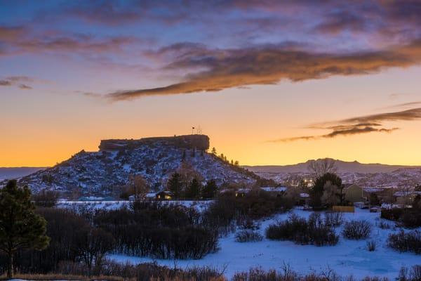 Castle Rock Colorado Sunset Photo - Late Autumn Snow