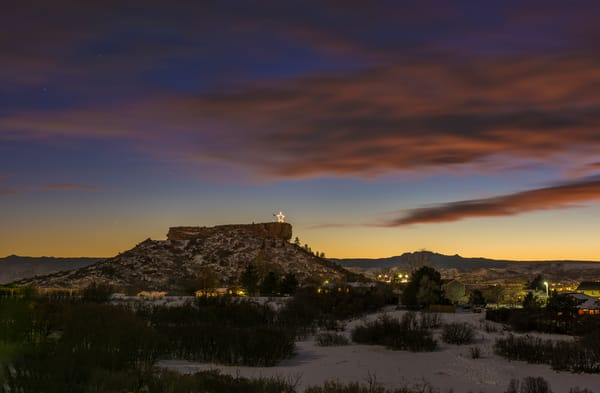 Castle Rock Colorado Star Late Autumn at Sunset with Snow