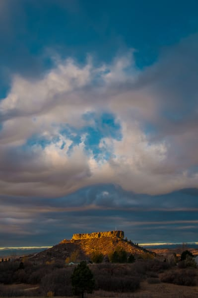 Vertical Photo Heavenly Clouds Parting over Castle Rock