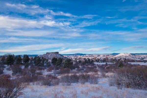 Blue Skies White Clouds Light Snow Castle Rock Colorado