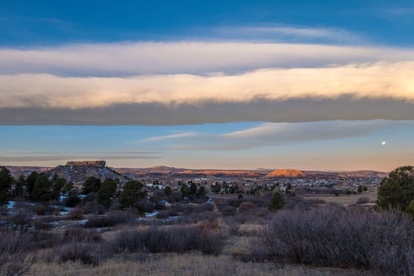 Low Stratus Clouds over Castle Rock Colorado with Full Moon