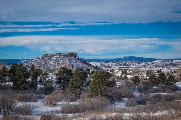 "Photo of ""The Rock"" in Castle Rock Colorado Autumn Snow"
