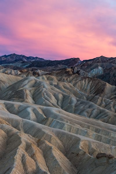 Pink Sunset above Death Valley Badlands Photograph for Sale as Fine Art