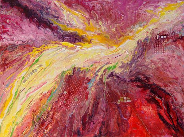 Abstract Textural Mixed Media Art - Ascend