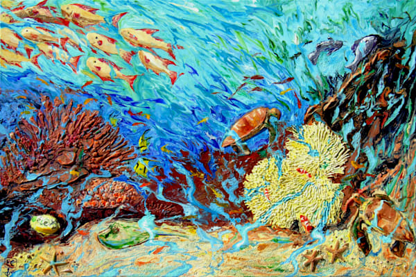Dream of Paradise - An Abstract Coral Art with Sculpted Marine Lives On Canvas