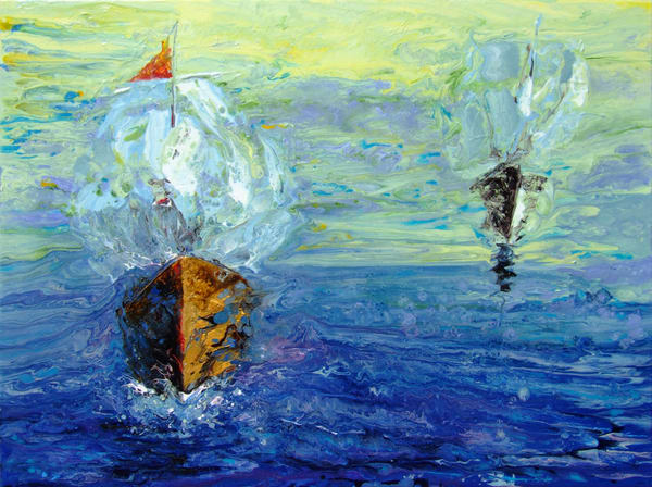 Abstract Art of Ships in Sea Faring - Quest