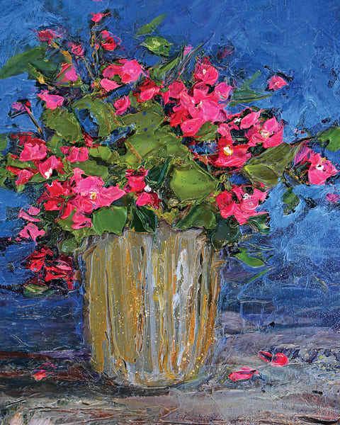 Pink Geraniums painterly style