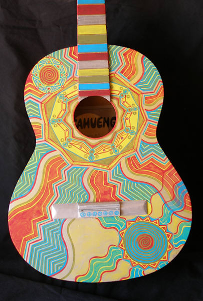 New Mexico Music acrylic painting on guitar