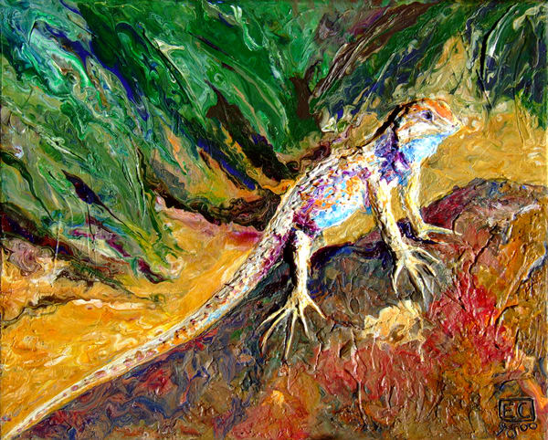 Abstract Relief Art of Spiny Lizard - Desert Resident