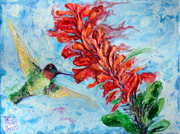 Abstract Relief Art of Hummingbird