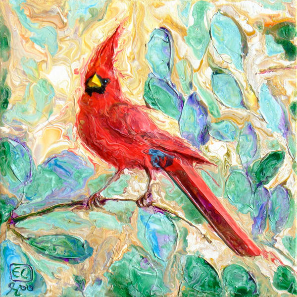 Abstract Red Cardinal Art - Jojoba Perch
