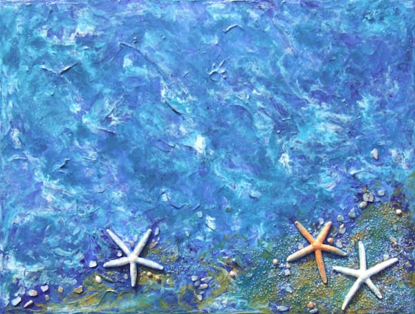 Abstract Art of Blue Ocean Wave (4) in Acrylic and Mixed Media