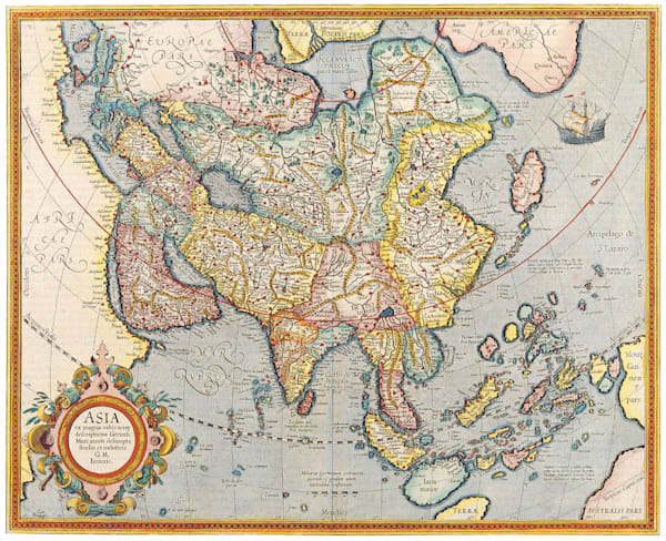 Antique Maps of the World Map of Asia Jodocus Hondius c 1620