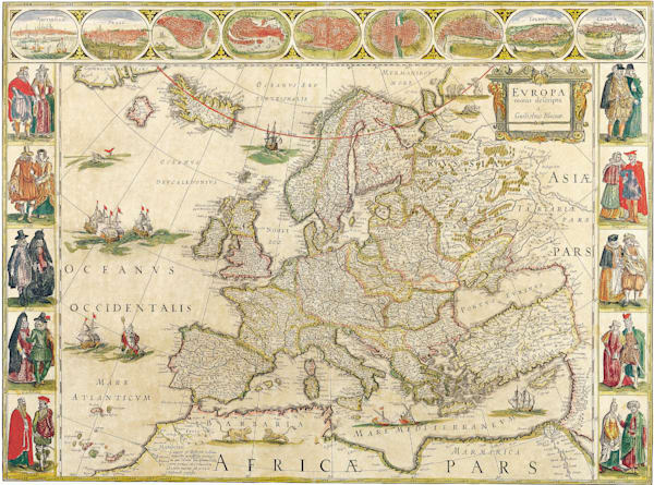 Antique Maps of the World Map of Europe Willem Blaeu c 1650