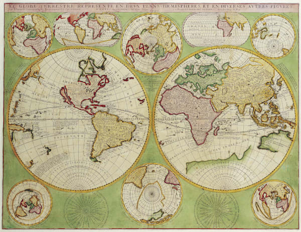 Antique Maps of the World Double Hemisphere Polar Map Vincenzo Coronelli c 1690