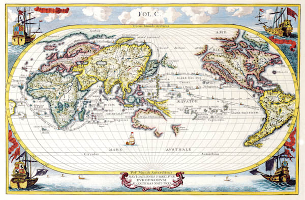 Antique Maps of the World Map of the World Heinrich Scherer c 1700