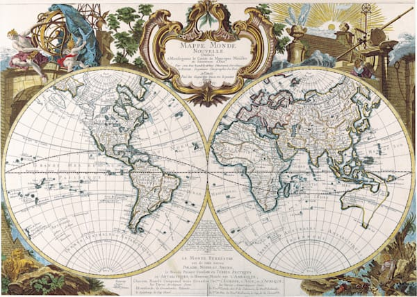 Antique Maps of the World Double Hemisphere Map George Louis Le Rouge c 1744
