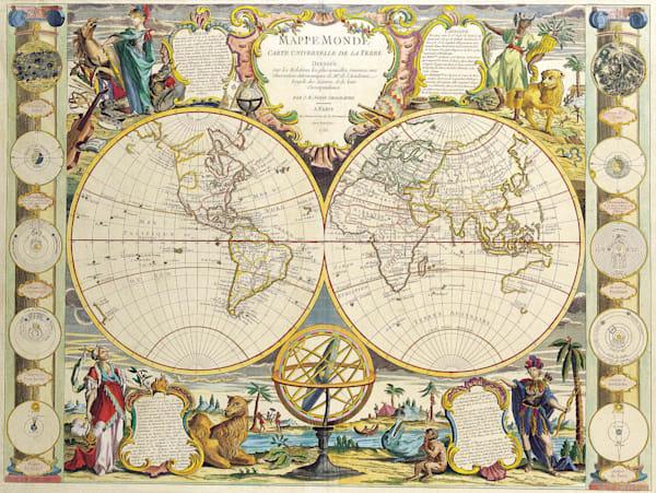 Antique Maps of the World Double Hemisphere Map Jean Baptiste Nolin c 1755