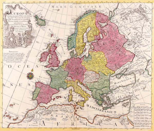 Antique Maps of the World Map of Europe Conrad Lotter c 1760