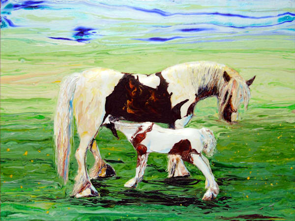 Foal In Love, Original abstract acrylic relief horse art