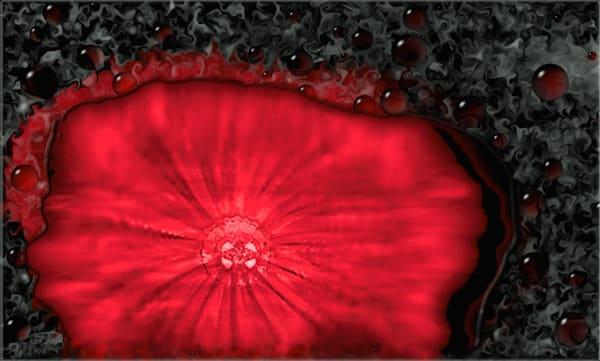 Liquid View red paint puddle digital art by Cheri Freund