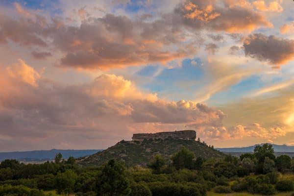"""""""The Rock"""" Castle Rock Colorado Sunset Dramatic Clouds &  Blue Sky"""