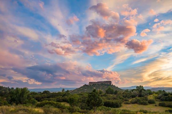 Castle Rock Colorado Sunset, Colorful Cotton Candy Clouds