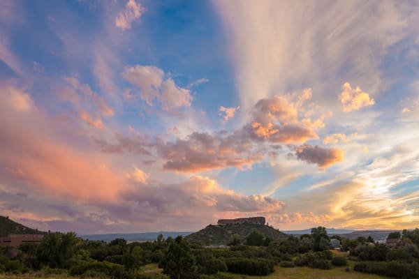 Dramatic Sunset Photo of the Rock Castle Rock Colorado