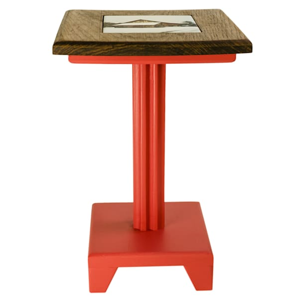 Cocktail Table - Dark Hickory Top with Tile Inlay/Red Painted Base