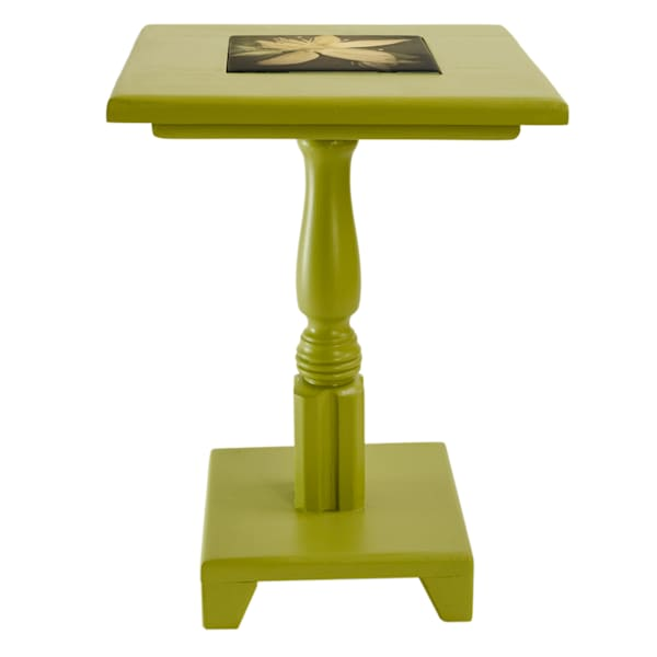Green Painted Cocktail Table with Removable Tile Inlay