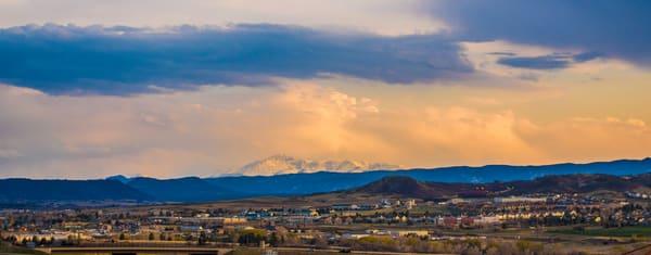 Golden Hour Landscape Photo Snow Capped Pikes Peak from Castle Rock