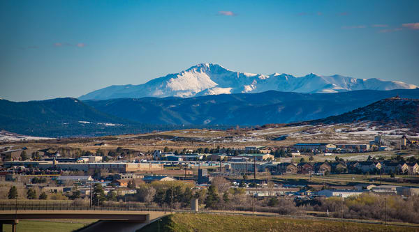 Photo of Snow Capped Pikes Peak from Castle Rock Colorado