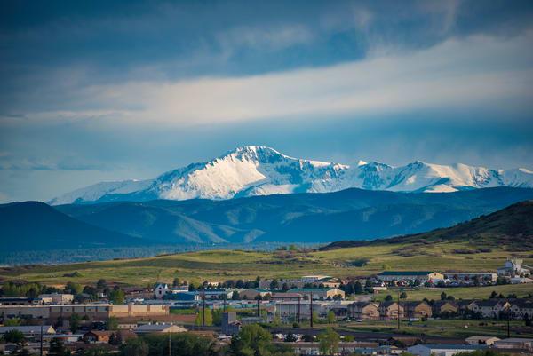 Landscape Photograph of Snowy Pikes Peak from Castle Rock Colorado