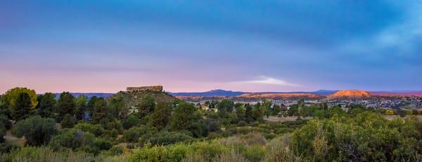 Colorful Panoramic Sunrise Photo of Castle Rock Colorado