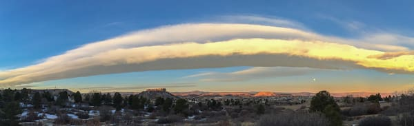 Panoramic Photograph of Castle Rock Colorado & Full Moon at Sunrise