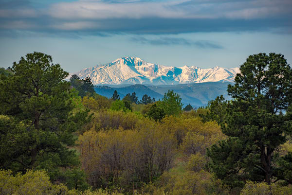 Landscape Photograph of Pikes Peak at Dawn with Spring Snow