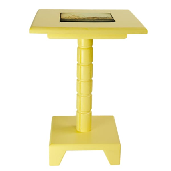 Yellow Painted Cocktail Table with removable tile inlay