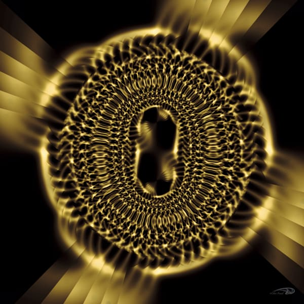 LinkedIn abstract gold metal chain links digital art by Cheri Freund
