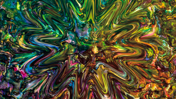 Mixed Up digital art splashed liquid metal mutli-colored by Cheri Freund