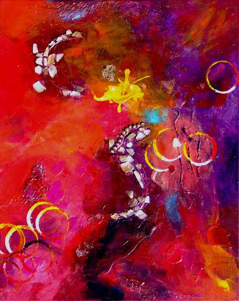Original Abstract Mixed Media Painting, Mars Travel