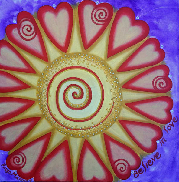Believe in Love spiral abstract oil painting