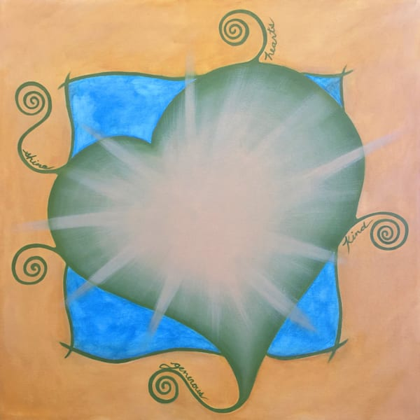Generous Kind Hearts Shine word series oil painting