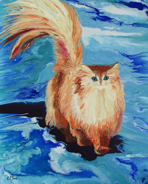 Original Semi-Abstract Cat Painting - Cheer