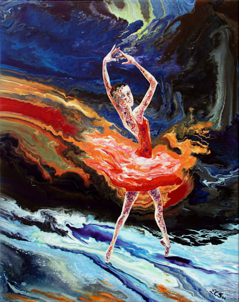 Original Abstract Ballerina Art - Four Seasons (iii) - Autumn